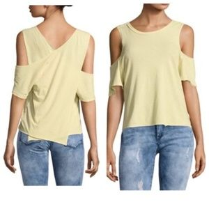 Free People cold shoulder cross back yellow tee L